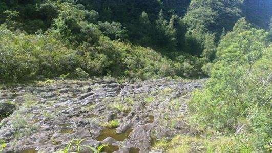 Coulée de lave dans la Rivière des Remparts
